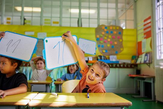 Young pupils during a math class