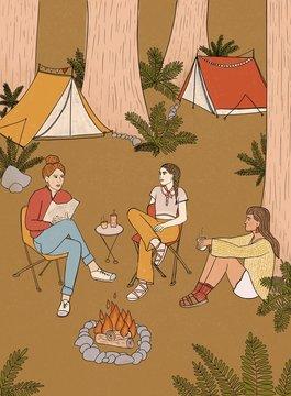 Women Camping Illustration