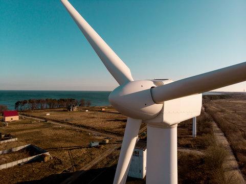 Big post with windmill turbine