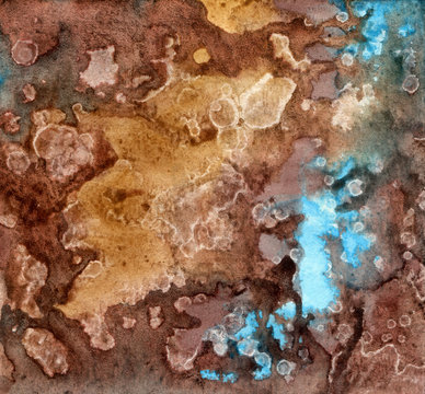 Watercolor stylish brown and blue texture