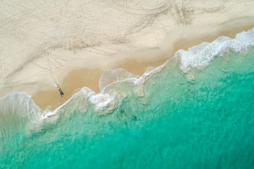 Aerial views of sea kayak launch on coastline