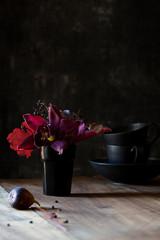Flower arrangement on kitchen table