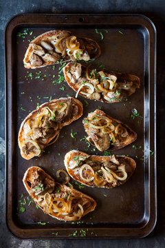 Chicken livers with sauteed onions on toast