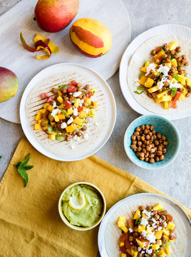 Roasted chickpea tortilla wrap with mango salsa