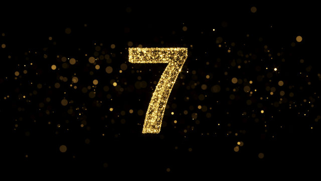 Luxury Golden Glitter Number 7 - 3D Rendered Shining Sparkles