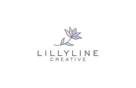 Lilly  line art logo design illustration