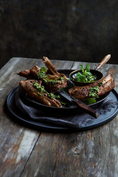 Meat lamb chops with chimichurri sauce