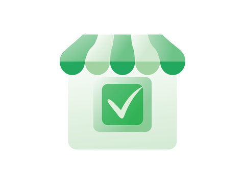 Online shopping icon. Concept Marketing and Digital marketing. Mockup shop and check. Template logo, image.