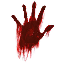 blood handprint with smudges for horror isolated on white background