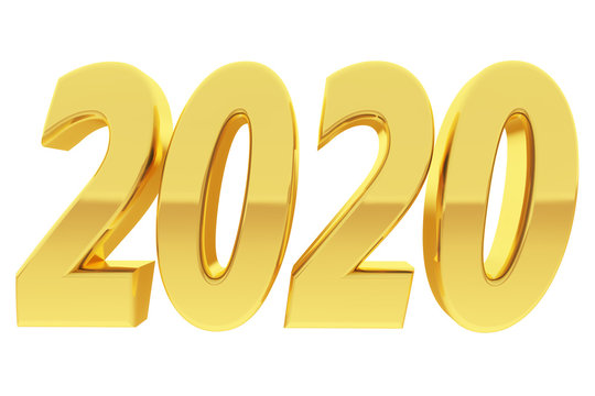 Gold 2020 digits with gradient reflections isolated on white background