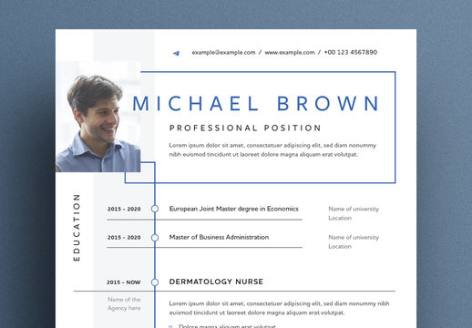 Creative Resume Layout with Geometric Shapes and Lines