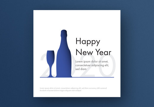 New Year Card Layout with Blue Glass and Champagne Bottle