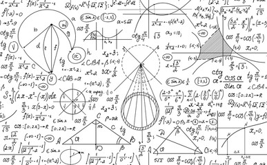 Hand drawn mathematical vector seamless pattern with handwritten algebra formulas, equations and geometry figures