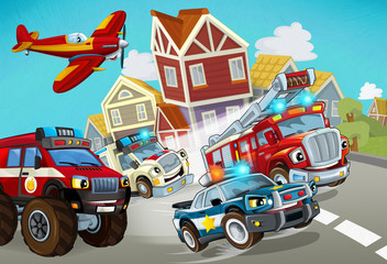 Wall Murals Cars cartoon scene with fireman vehicle on the road with police car and ambulance - illustration for children