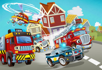 Keuken foto achterwand Cars cartoon scene with fireman vehicle on the road with police car and ambulance - illustration for children