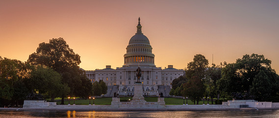 Panoramic image of the Capitol of the United States with the capitol reflecting pool in morning light. Wall mural