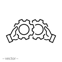 corporate work icon, mechanical gears, setting cog wheels, engine circle, thin line web symbol on white background - editable stroke vector illustration eps10
