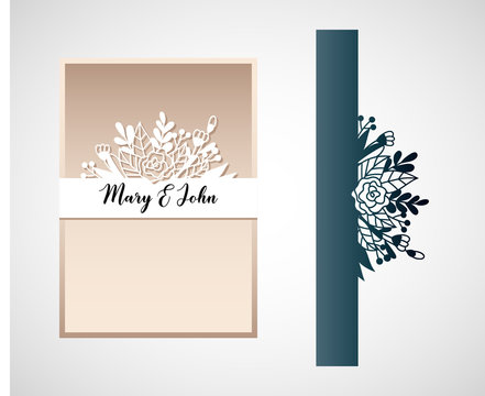 Openwork card with floral elements. Laser cutting template for wedding invitation.