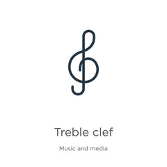 Treble clef icon vector. Trendy flat treble clef icon from music and media collection isolated on white background. Vector illustration can be used for web and mobile graphic design, logo, eps10