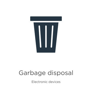 Garbage disposal icon vector. Trendy flat garbage disposal icon from electronic devices collection isolated on white background. Vector illustration can be used for web and mobile graphic design,