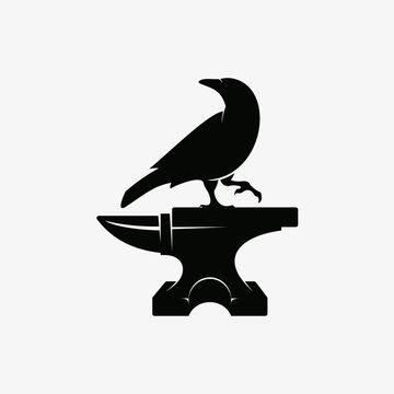 Crow and Anvil Logo, Symbol, Sign Design