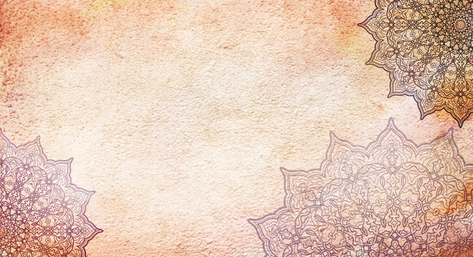 Light cream earthy textured watercolor background with mandalas