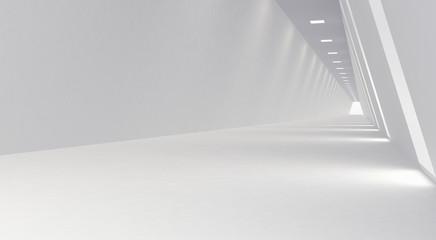 Empty Long Light Corridor. Modern white background. Futuristic Sci-Fi Triangle Tunnel. 3D Rendering  Fotobehang