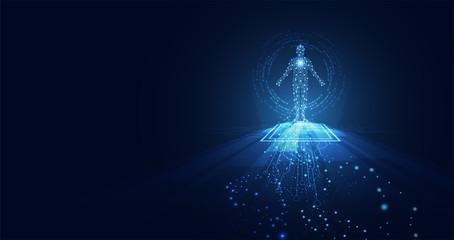 abstract technology futuristic concept of digital human body digital ai future design on hi tech background. Wall mural
