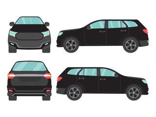 Papiers peints Cartoon voitures Set of black suv car view on white background,illustration vector,Side, front, back