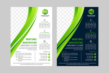 Cover design. Brochure, flyer, annual report cover template. Modern Geometric Abstract white and dark blue background. green wave element. vector stock. space for photo.