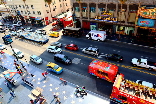 Hollywood Boulevard, Walk of Fame view from Hollywood & Highland  entertainment center Dolby Theatre rooftop terrace - Hollywood, California