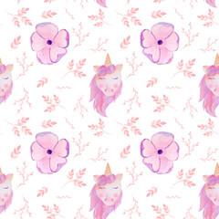 watercolor seamless pattern pink unicorn and flowers