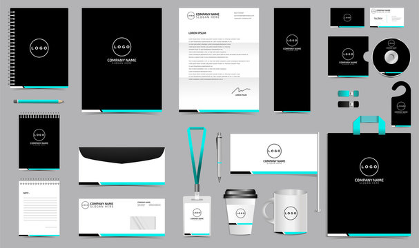 Corporate identity set branding template design kit. editable brand identity with abstract background color for Business Company and Finance Vector eps 10