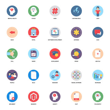 Mindset Flat Rounded Icons Vectors