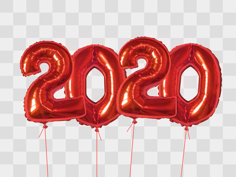 Red foil balloons number 2020
