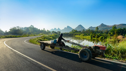 Pictures of mountains and rivers in the northeast region of Thailand, the rural lifestyle in Thailand will be more convenient, have electricity, have good roads.