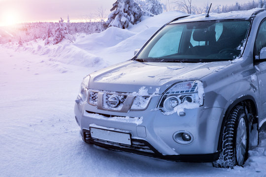 Suzuki car on top of a snowy mountain. Extreme deep snow driving. Drammen, Norway