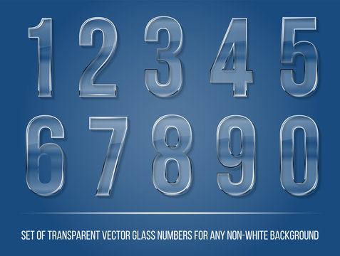 Set of transparent glass numbers with shadow