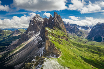 Wall Mural - Stunning aerial view to Seceda in South Tyrol, Dolomites