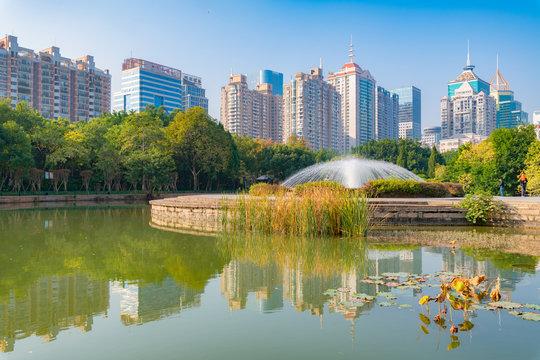 Cityview of Hot Spring Park in Fuzhou City, Fujian Province, China