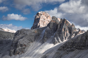 Wall Mural - Monte Paterno in autumn Dolomites, aerial view
