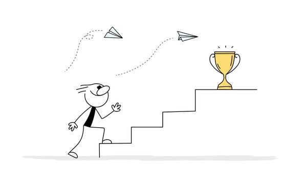 Doodle stick figure: man walking up the stairs with golden cup on the top to her goal.
