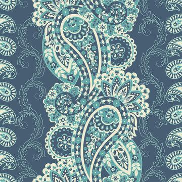 Paisley Pattern. Seamless Asian Textile Background