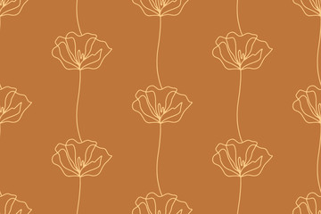 Floral seamless pattern with poppies flowers