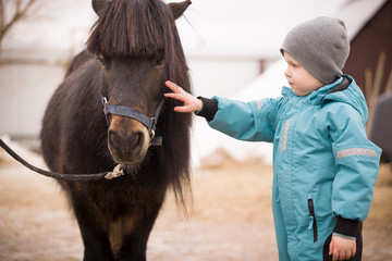 Cute Kid boy in turquoise overalls stroking an Icelandic pony with a funny forelock. Child thanks...