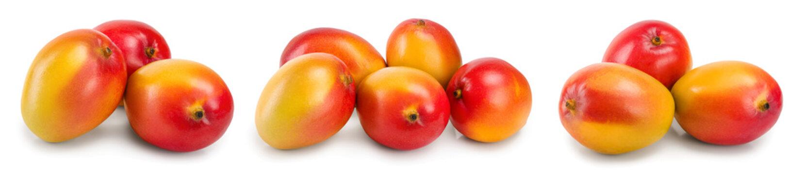 Mango fruit isolated on white background close-up. Set or collection
