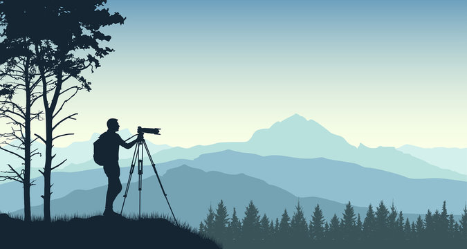 Photographer from a tripod photographs the landscape of nature. Forest trees mountains. Silhouette vector illustration