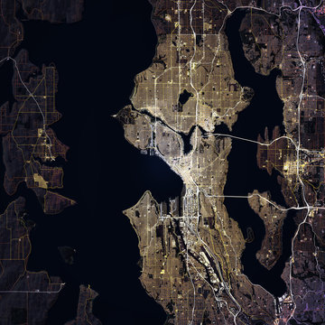 Map Seattle city. Washington