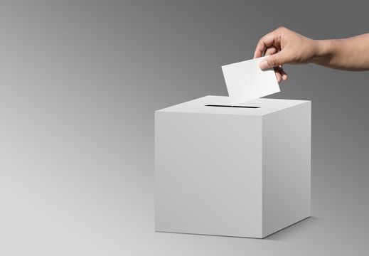 concept vote election Election of members of parliament, president, chief, executive. a ballot paper in hand isolated with clipping path on background
