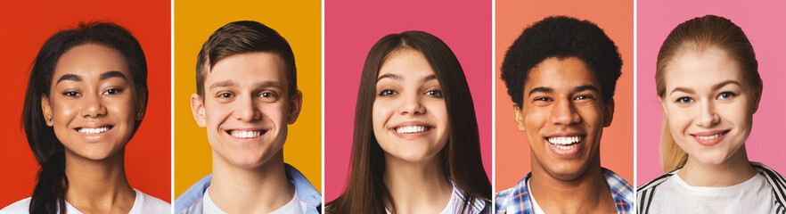Portrait's collage. Diverse teens smiling at colorful backgrounds